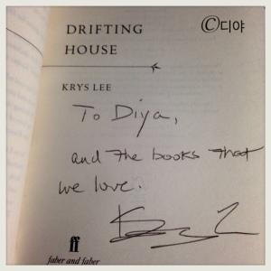 Krys' inscrption of my copy of Drifting House