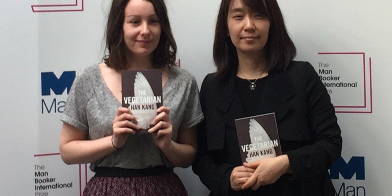 Han Kang and Deborah Smith at the British Library (Man